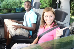 Teenagers buckled up