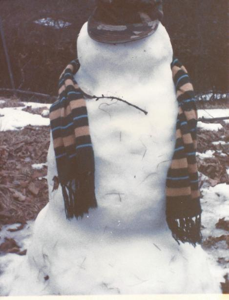 My sons made this 4-foot-tall soldier snowman in 1993. This shot was taken on Day 4.